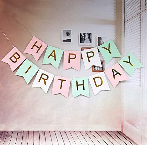 EACHHAHA Happy Birthday Banner,Happy Birthday Girlande,happy birthday deko Pink,Birthday Bunting,Geburtstagsparty für Kinder & Erwachsene,Geeignet für drinnen & draußen(Pink, Weiß, Grün)