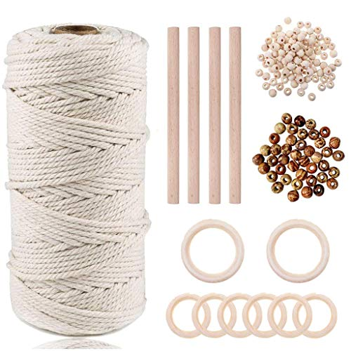 Macrame Cuerda, 3mmx100m Cordón Hilo de Algodón Natural Colgante de Pared de...