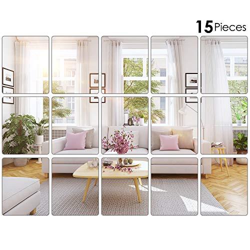 Outus 15 Stücke Spiegelfliesen Mirror Tiles Flexible Spiegel Blätter Selbstklebende Spiegel Fliesen ohne Glas Wand Aufkleber HD Wandspiegel Set in Küche, Wohn- und Badezimmer