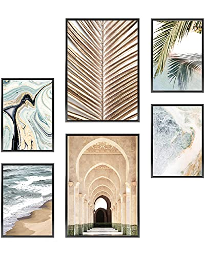 Heimlich Cuadros Decorativos - SIN Marcos -Decoración Colgante para Paredes de Sala, Dormitorios y Cocina - Arte Mural - 2 x A3 & 4 x A4-30x42 & 21x30 | » Golden Palm Beach «