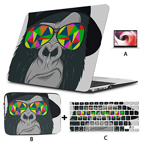 15 Inch Macbook Case Cool Monkey Chimpanzee King Of Forest Animal Macbook Air Hard Case Hard Shell Mac Air 11'/13' Pro 13'/15'/16' With Notebook Sleeve Bag For Macbook 2008-2020 Version