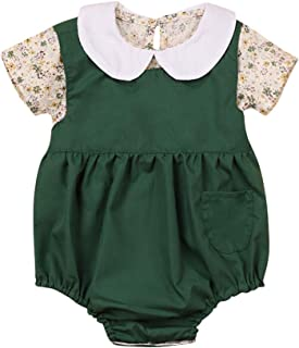 Newborn Baby Girl 2PC Clothes Short Sleeve Floral Top + Suspender Jumpsuit Romper Outfits 0-18 Months