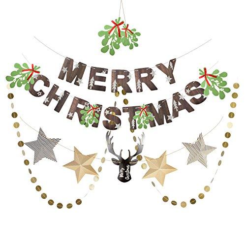 SUNBEAUTY Papier Weihnachten Dekoration Set Merry Christmas Elch & Stern Girlande (2)