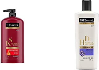 TRESemme Keratin Smooth Shampoo, 1L & TRESemme Hair Fall Defense Conditioner, 190ml