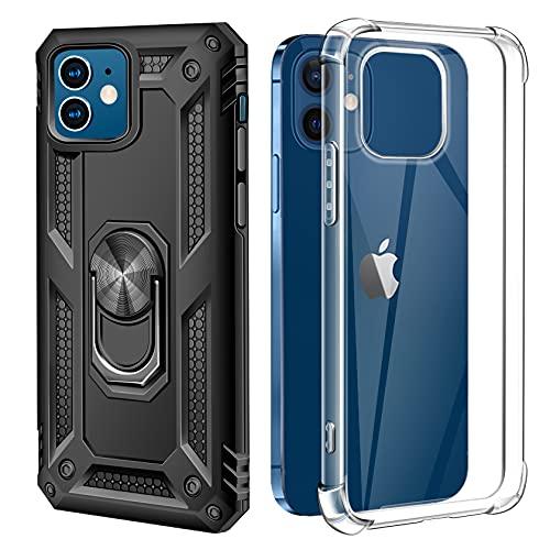 AROYI (2 Style Hülle Handyhülle Kompatibel mit iPhone 12 / iPhone 12 Pro Hülle, Military Grade 360°Ring Halter Handy Hüllen & Soft Transparent Silikon Hülle - Schwarz/Clear