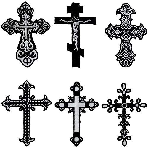 6Pcs Christian Jesus Religion Faith Cross Iron On Sew On Embroidered Patch for Jackets Backpacks Jeans and Clothes Badge Applique Emblem Sign Decal