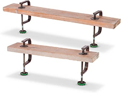 Lone Elm Studios 94341 S/2 Metal C-Clamp Wood Shelves Christmas, 31InL