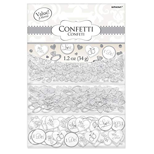 Amscan 370148 White 'I Do' & Ring Value Confetti 1 pack Wedding and Engagement Party