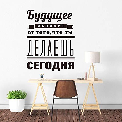 Citas inspiradoras rusas calcomanías de arte de pared decoración de oficina escolar extraíble'el futuro depende de' pegatinas de vinilo decorativas de pared A8 42x53cm