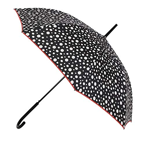Paraguas Vogue. Paraguas Mujer estampado blanco y negro. Paraguas largo automático y antiviento. Paraguas original y elegante.
