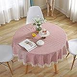 Meiosuns Mantel Redondo Mantel a Rayas Mantel de algodón Simple Uso Interior y al Aire Libre (Diámetro 150cm, Rayas Rojas/Blancas)