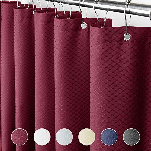 Eforcurtain Heavy Duty Waffle Shower Curtain Hotel, Waterproof Fabric Bathroom Curtain Fabric, 72 by 86 Inch, Red