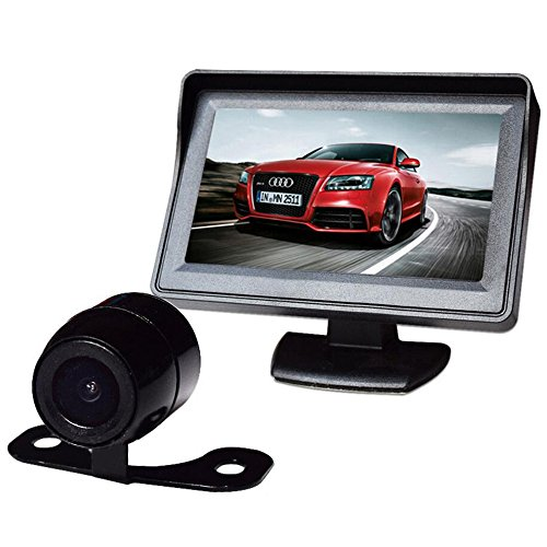 PolarLander Voir arrière de Voiture Moniteur LCD Alarme/Système de caméra de sécurité de 4,3 Pouces d'affichage Desktop Support Supply écran HD à Bord d'affichage