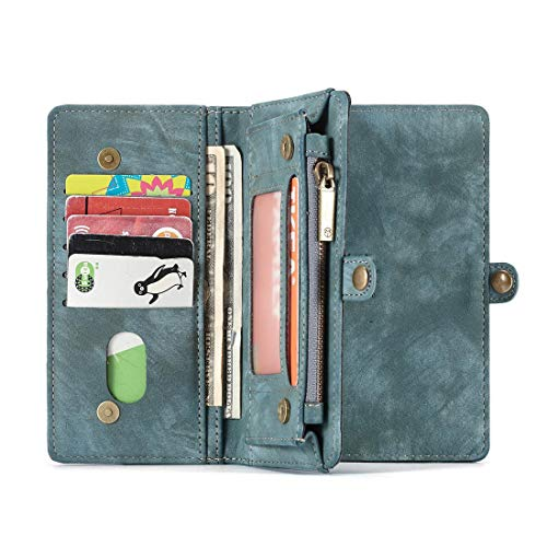 WEATLY Multifunktionale Leder-Geldbörse Brieftasche Damen-Geldbörse [Support-Funktion] [Kartenfächer] [Abnehmbare Magnethülle] for iPhone, Huawei (Farbe : Blau, Size : Huawei P20)