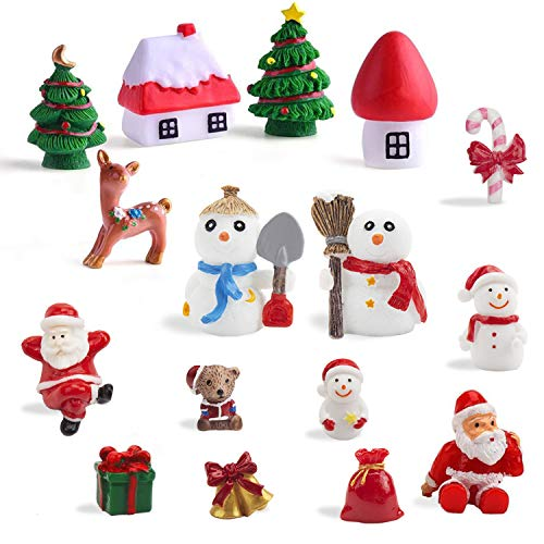 LOKIPA 16 Christmas Miniature Ornaments Decorations Kit,Christmas Mini Resin Ornaments Figurine for Snowy Winter Fairy Garden Dollhouse Decoration