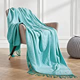VEEYOO Throw Blanket for Couch, Turquoise Striped Knit Throw Blanket with Tassels, Decorative Soft Knitted Blanket Throw 50x65 inch