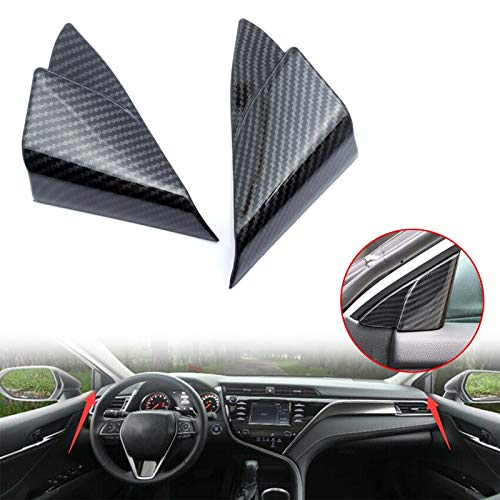Xotic Tech Carbon Fiber Look Interior Car Front Door Window A Pillar Cover Trim for Toyota Camry 2018 2019 2020