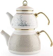 Emery Cloth emaliowany czajnik do herbaty 2 5 l biało-niebieski