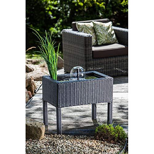 Heissner 015196-00 - Estanque alto de ratán para terraza con juego de agua, color negro