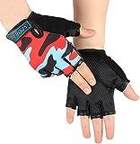 BXT Mädchen Jungs Halb Finger Fahrradhandschuhe Sport Gym Handschuhe Racing Mitts Anti Rutsch Gel Atmungsaktive Fingerlos Kinder Handschuhe für Mountain Road Fahrrad