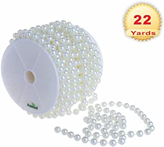 PMLAND Large 10mm Pearls Chain of Sheen White Crystal Beads (66 ft Long)