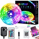LED Strip Lights,RGB Light Strips with 44 Keys Kit IR Remote Controller 5050 SMD,Music Sync DIY Color Changing Bright Lights for New Year Home Party Birthday Decoration(25ft)