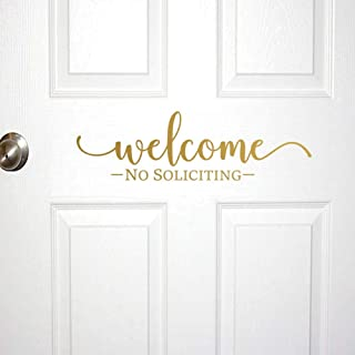 IARTTOP Modern Design Welcome No Soliciting Sign Removable Family Door Rules Vinyl Funny Quotes Sticker Wall Art Decor, Gold