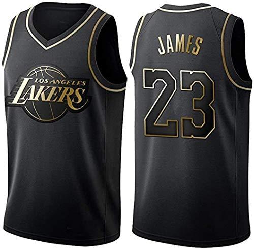 ZeYuKeJi Uomo Jersey Jersey NBA Lakers James Jersey 23 Lakers Mesh Pallacanestro Jersey Ricamato con Scollo a V Maglia Senza Maniche T-Shirt (Color : Black, Size : L)