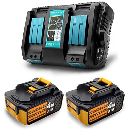 2 baterías de repuesto BL1840 + cargador DC18RD Dual Port para Makita 18V BL1815 BL1830 BL1840 BL1850 BL1860 BL1850B