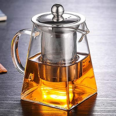 nutmeg Glass Teapot with Infuser, Borosilicate Glass Tea Pot with Tea Strainers for Loose Leaf Tea, with Removable 304 Stainless Steel Infuser, Microwavable and Stovetop Safe (350 ml/11.8 OZ)
