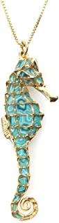 Gold Plated 925 Silver Seahorse Necklace Pendant Polymer Clay Handmade Jewelry, 16.5