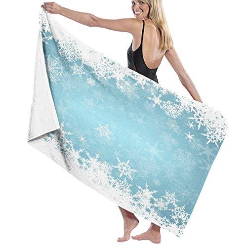 Grande Suave Toalla de Baño Manta,Congelado Plata Nevado Navidad Copos de Nieve Azul Frío Invierno Cae Blanco Diseño Helado Hielo,Hoja de Baño Toalla de Playa por la Familia Viaje Nadando,52' x 32'