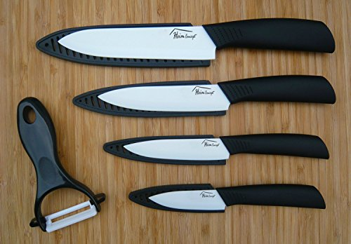 Heim Concept Ceramic Knife Set 5 Piece Cutlery Kitchen Knives with Sheaths and Peeler Set, Black
