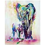 TAHEAT Nueva Pintura de Bricolaje por números 16 x 20 para Adultos, Kit para Principiantes, Lienzo de Lino para niños, Elefante Colorido, Padre e Hijo (sin Marco)