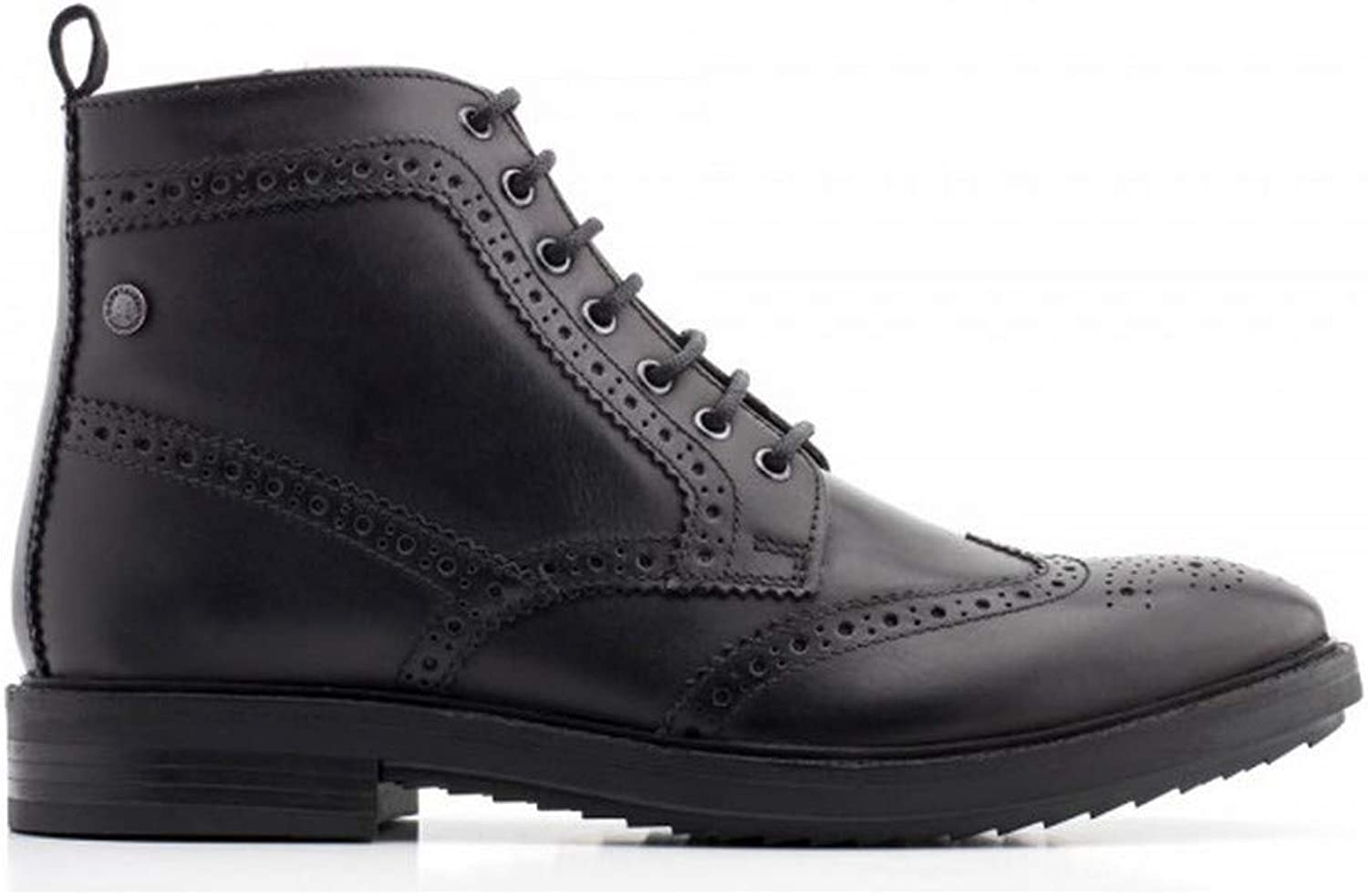Base London Men Black Leather 'Hopkins' Brogue Boots