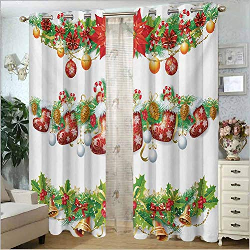 ScottDecor Christmas Solid Curtain Darkening Blackout Drapes for Window Traditional Garland Designs with Flowers Socks and Bells Mistletoe Candy Orange Red Green 100' W x 108' L