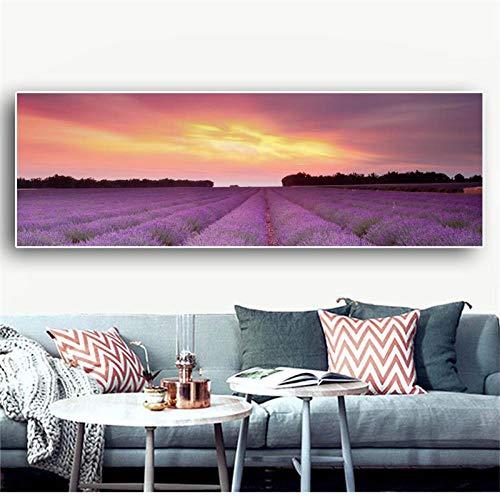 OCRTN Provence Lavendel Naturlandschaft Plakate und Drucke Leinwand Kunst Skandinavische Malerei Nordic Wandbild für Wohnzimmer Schlafzimmer - 50x150cm (kein Rahmen)