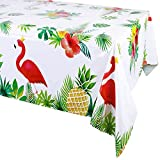 3 paquetes de mantel para decoración de fiesta de cumpleaños hawaiana (130 x 220 cm), flamenco desechable, plástico rectangular, fundas de mesa, mantel de aloha Luau Verano, accesorios de fiesta