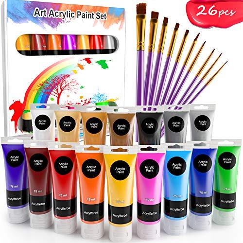 WOSTOO Pinturas Acrílicas 26 set Tubos de Pintura Acrílica 16 x 75ML+10 Piezas Pincel de Pigmentos de Colores Alta Cobertura y de Secado Rápido para Principiantes Estudiantes y Artistas