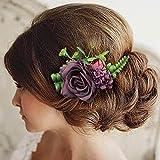 Fangsen Wedding Rose Flower Hair Comb Bridal Flower Hair Clip Floral Hair Accessories for Women an Girls (Retro Violet -A)