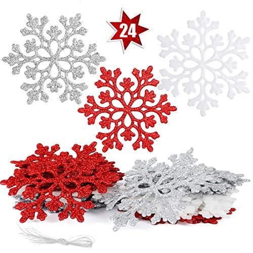 O-Kinee Fiocchi di Neve Decorativi Natale, Decorazioni Albero Natale, Fiocchi di Neve di Glitter, 24 Decorazioni Fiocchi Neve per Decorazione Albero di Natale da Appendere (Rosso Misto)