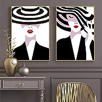 ブラックホワイトハットヴォーグガール赤い唇キャンバス絵画ポスターとプリント壁アート写真リビングルームの家の装飾40x60x2cmフレームレス