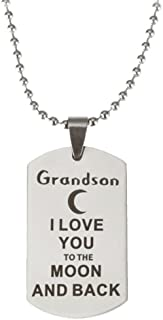 NextStone Grandparent and Grandchild Quote I Love You to The Moon and Back Pendant Necklace Keychain Gift