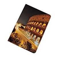 Pad ケース iPad2 ケース iPad3 ケース iPad4 ケース イタリア 夜の風景ローマコロッセオヨーロッパ都市遺産記念碑の風景 スタンド機能 レザー(PU) オートスリープ 傷つけ防止 イプ iPad2/3/4世代専用スマートカバー アンバーマリーゴールドブラック