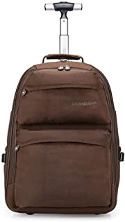 Trolley Travel Backpack, Waterproof and Wear-Resistant Hand Push Box, Travel Travel Business Study Laptop Handbag (Color : Brown, Size : 19 inches)