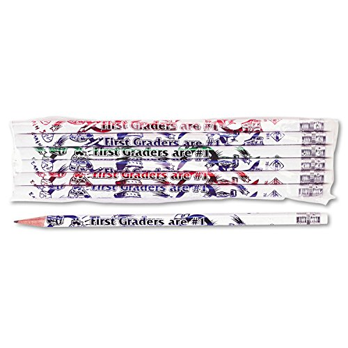 Moon Products Dozen Decorated HB 2 Wood Pencil, First Graders are #1, White (MPD7861B)
