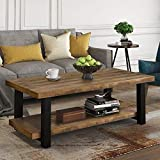 """Knocbel Farmhouse Coffee Table for Living Room, Sofa Side 2-Tier End Table with Open Storage Shelf & Metal Frame, 42.1"""" L x 22"""" W x 18.42"""" H (Rustic Brown and Black 42"""")"""