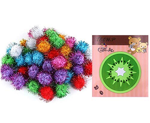 TECH-P® Arts Craft Pom Poms Glitter Poms Sparkle Balls– Assorted Color (1.5 Inch with Glitter Tinsel- 100 Pack) With1 PCS TECH-P Coaster