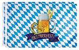 Juvale Oktoberfest-Flaggen – 2er Pack Bayrische Flaggen Deutsche Wimpelkette Banner Perfekt für Outdoor, Indoor, Haus und Garten Dekoration, Bier und Brezel Design, Blau & Weiß, 90 x 150 cm