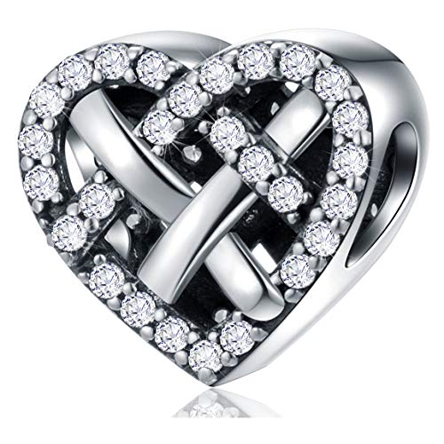 Dazzling Love Knot CZ Charms, 925 Sterling Silver Openwork Weaving Knotted Heart Charm Beads Fits Pandora Valentines Anniversary Bracelet, Gift for Girlfriend/Lover/Wife